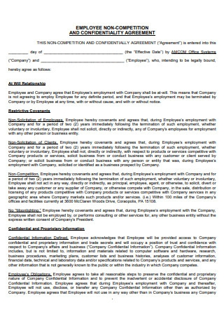 Employee Non Competition Confidentiality Agreement