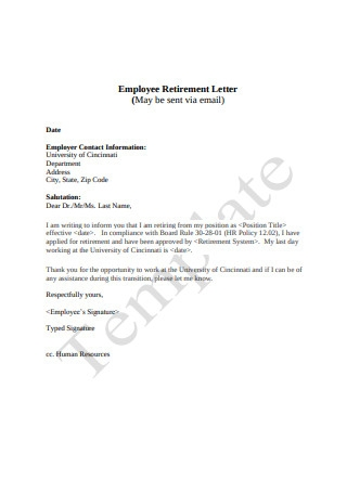 Employee Retirement Letter via Email