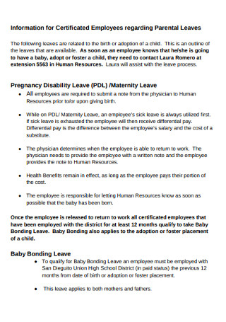 Employees regarding Parental Leaves