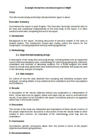 Example Format for Technical Report