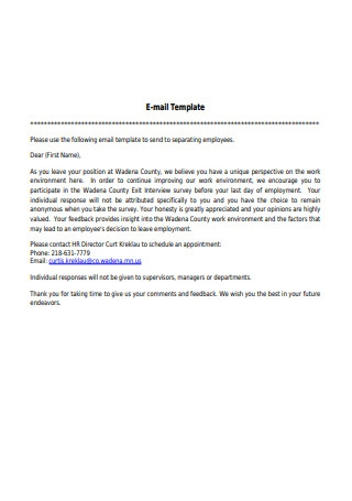Exit Interview E mail Template
