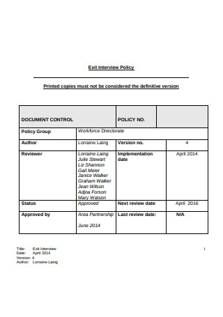 Exit Interview Policy Template