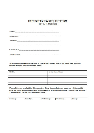 Exit Interview Request Form