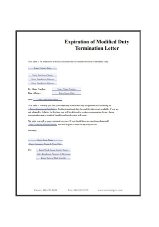 Expiration of Modifed Duty Termination Letter
