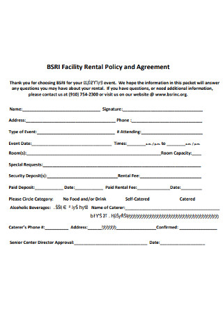 Facility Rental Policy and Agreement