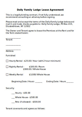 Family Lodge Lease Agreement