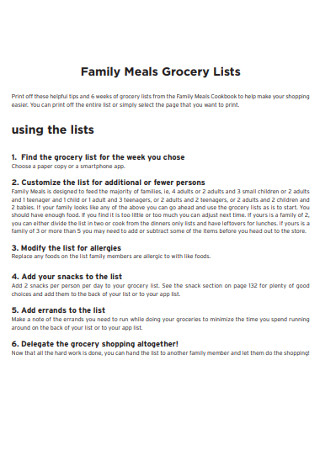 Family Meals Grocery Lists