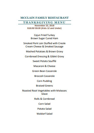 Family Restaurant Thanksgiving Menu