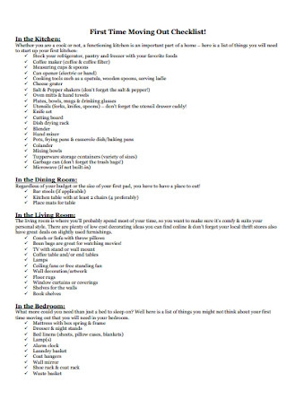 First Time Moving Out Checklist