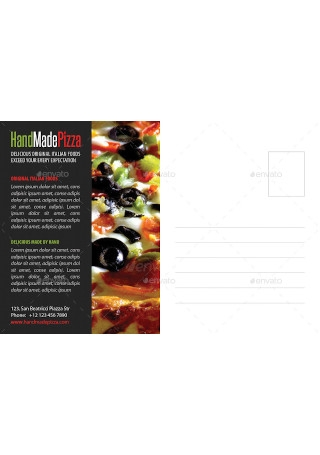 Food and Pizza Postcard Template