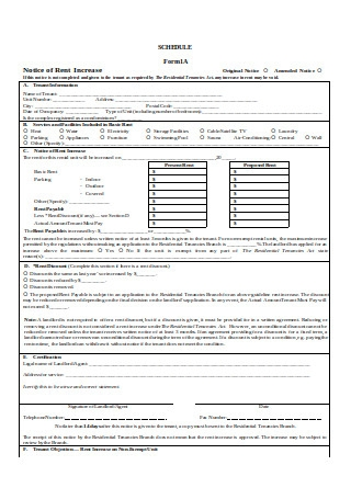 Form A1 Rent Increase Notice