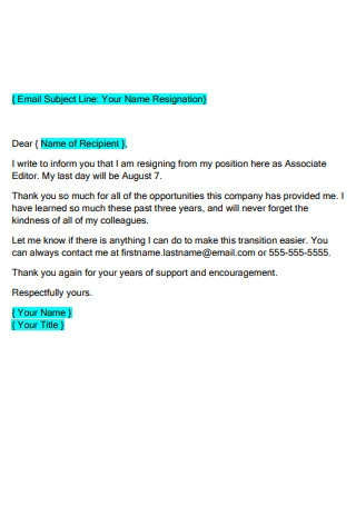 Formal Email Resignation Letter