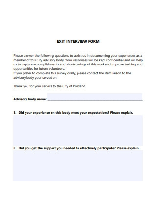Formal Exit Interview Form Template