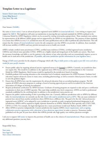 Formal Letter to Legislator