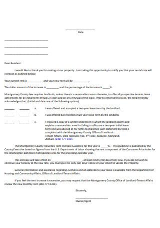 Formal Rent Increase Letter