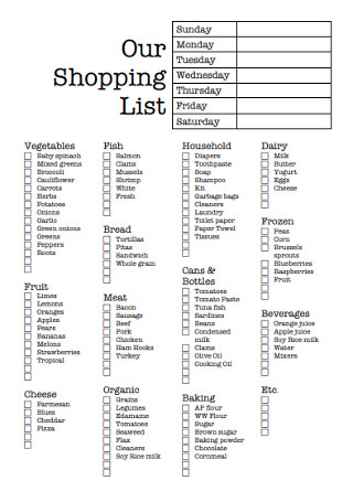 Formal Shopping List