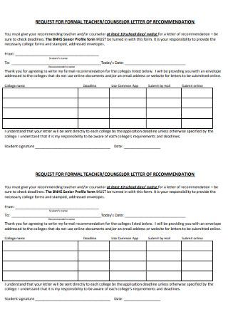 Formal Teacher Recommnendation Letter