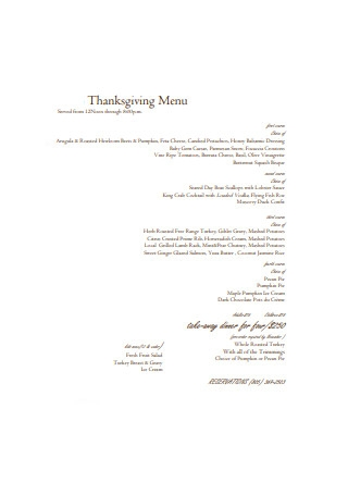 Formal Thanksgiving Menu