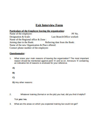 Format Exit Interview Template