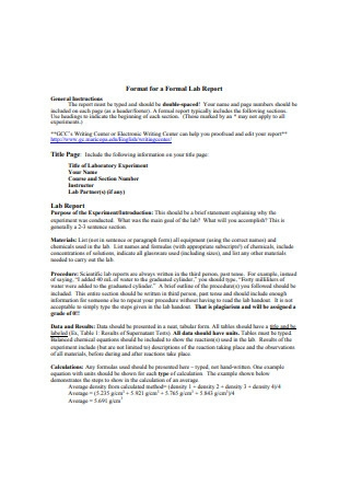 Format for a Formal Lab Report