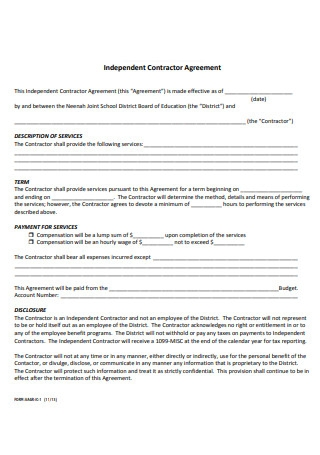 Format of Independent Contractor Agreement