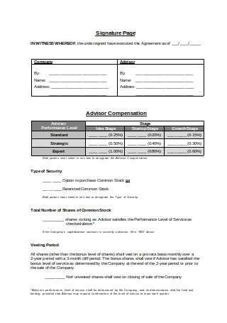 Founder Advisor Standard Template Agreement