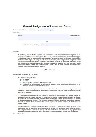 General Assignment of Leases and Rents