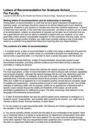Graduate School Teacher Recommendation Letter