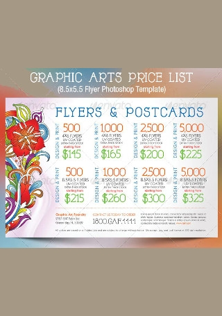 Graphic Arts Price List Flyer Postcard