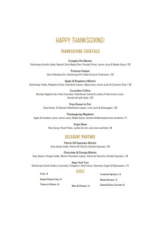 Happy Thanksgiving Menu Example