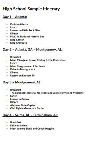High School Sample Itinerary