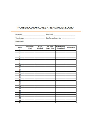 Household Employee Attendance Record