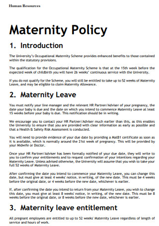 Human Resources Maternity Policy