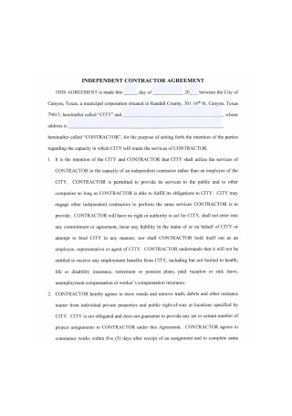 Independent Contractor Agreement Format