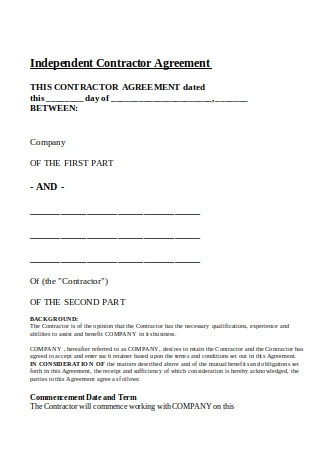Independent Contractor Employment Agreement