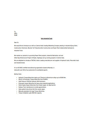 Industrial Business Introduction Letter