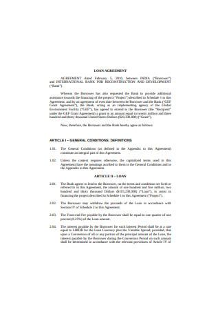 International Bank Loan Agreement