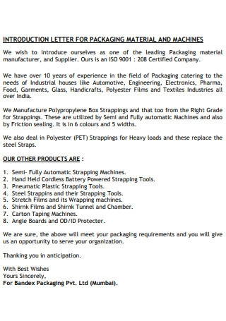 Introduction Letter for Packaging Material and Machine
