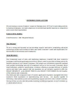 Introduction Letter