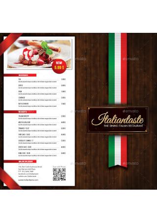 Italian Restaurant Menu Brochure