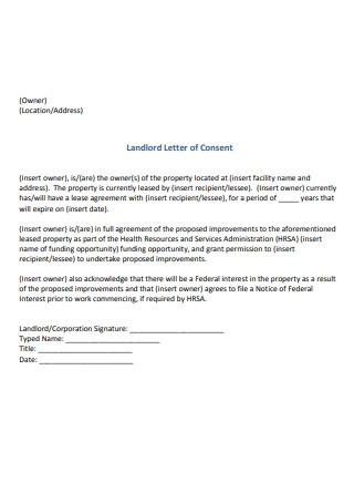 Landlord Letter of Consent Sample