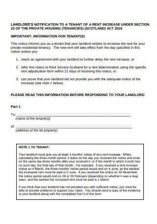 Landlord Notification of Rent Increase to Tenant