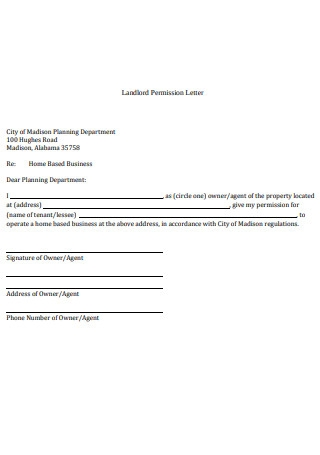 Landlord Permission Letter Sample