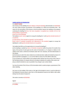 Landlord Termination Letter Notice