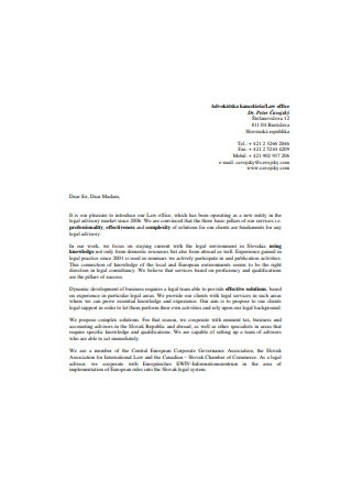 Law Office Business Introduction Letter