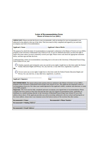 Law School Letter of Recommendation Form