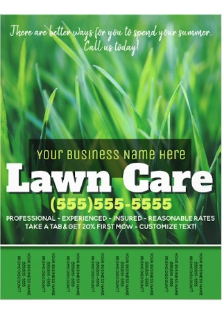 Lawn Care Advertising Tearsheet Flyer