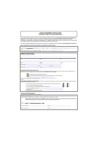 Lease Assignment Application