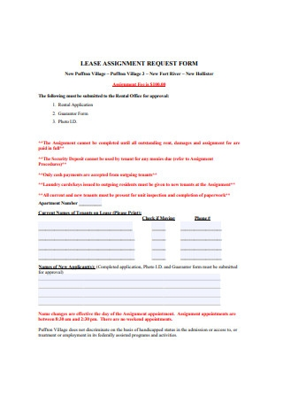 Lease Assignment Request Form