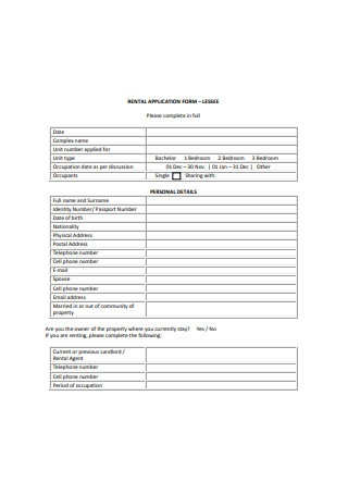 Lease Residential Rental Application Form